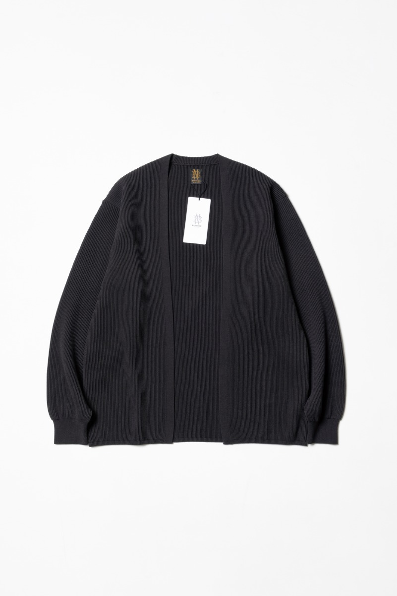 "BATONER High Count Rib Cardigan ""Charcoal Brown"""