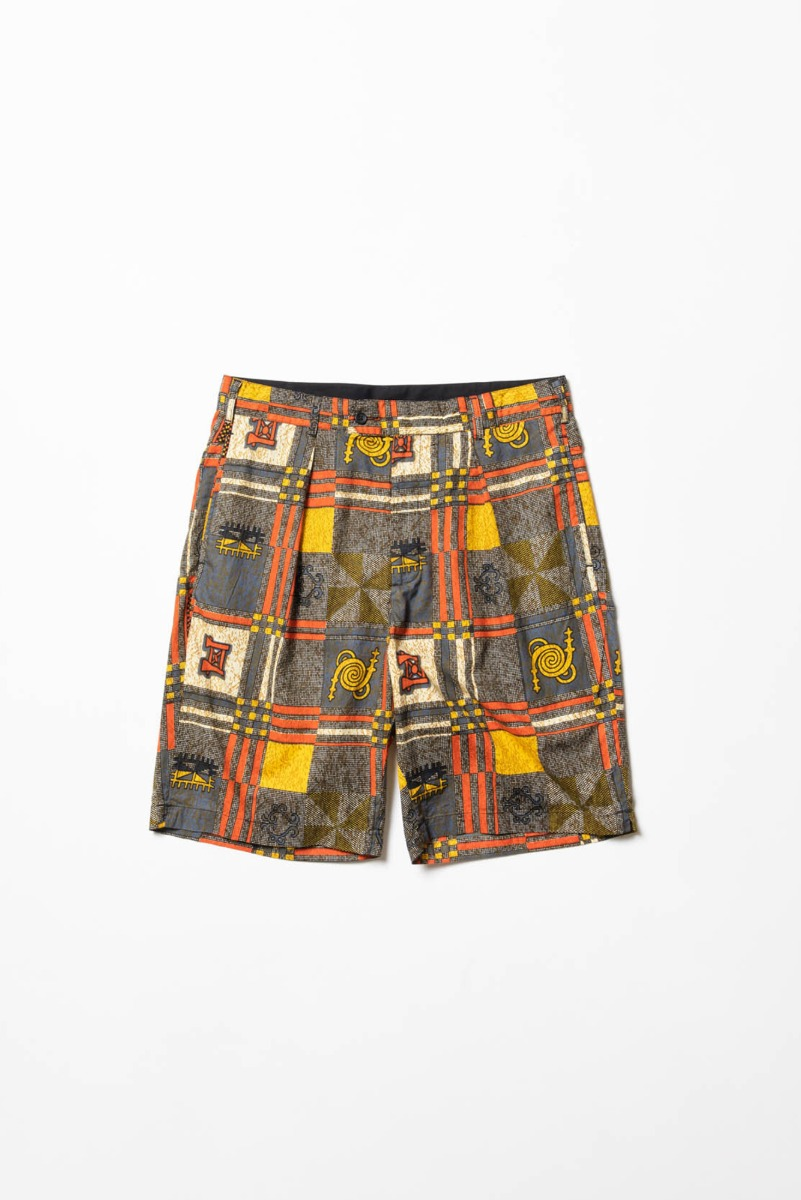 "ENGINEERED GARMENTS Sunset Short ""Black/Gold Cotton African Print"""