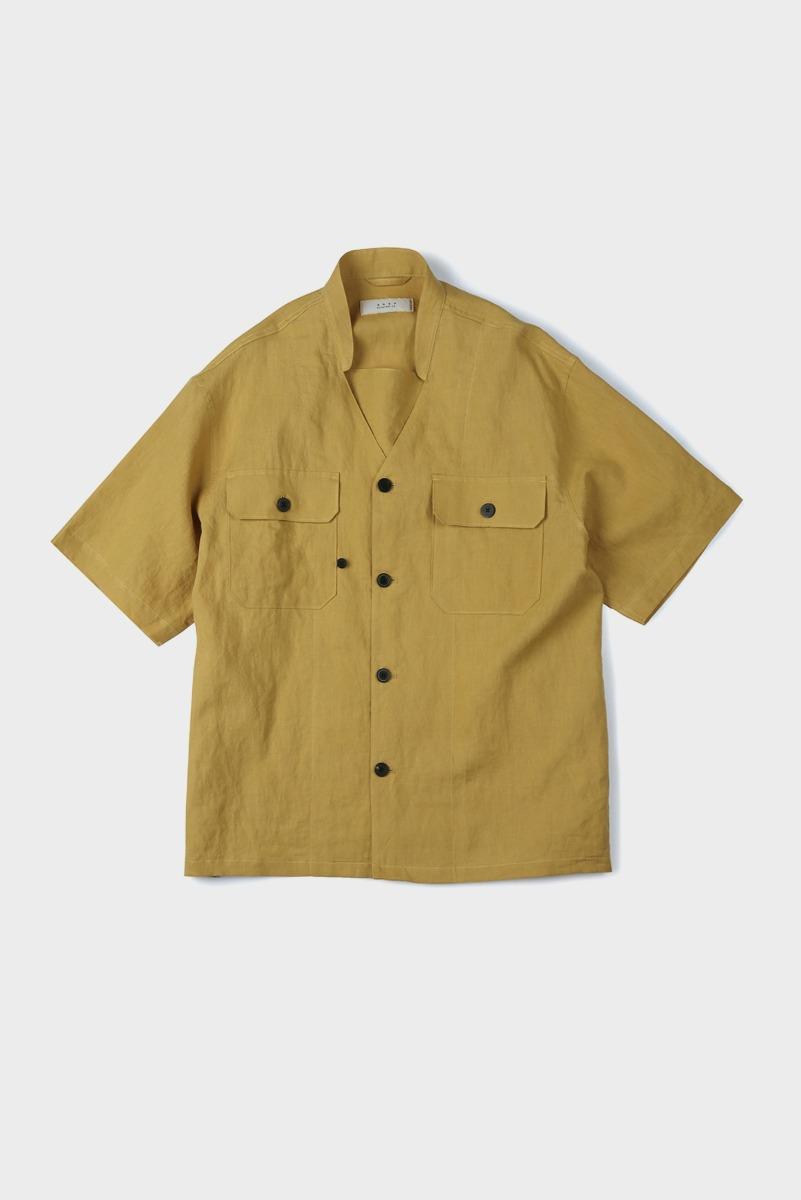 "SHIRTER Transform Military Band Collar Shirt ""Yellow"""