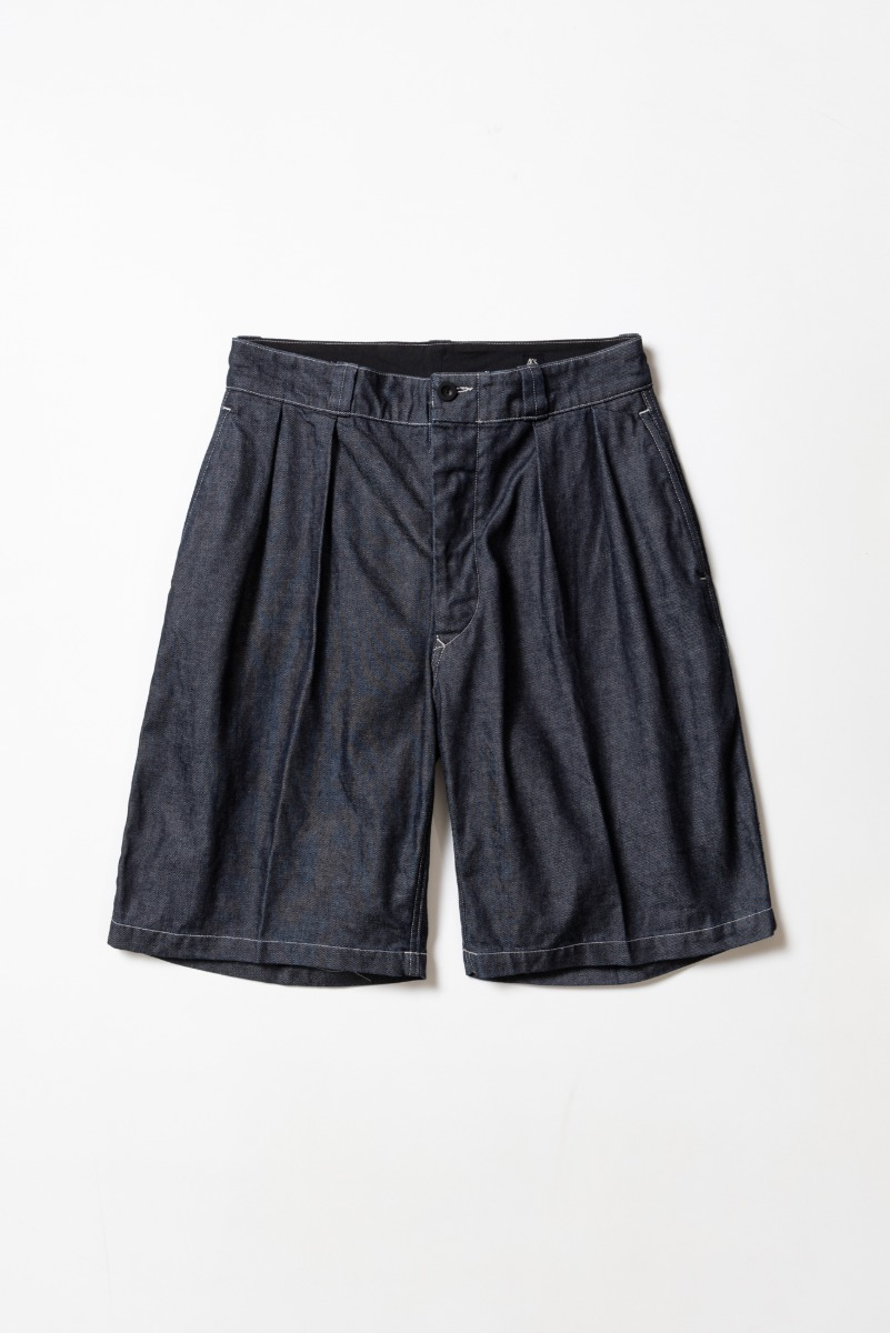 "KAPTAIN SUNSHINE 2 Pleats Wide Shorts ""Indigo"""