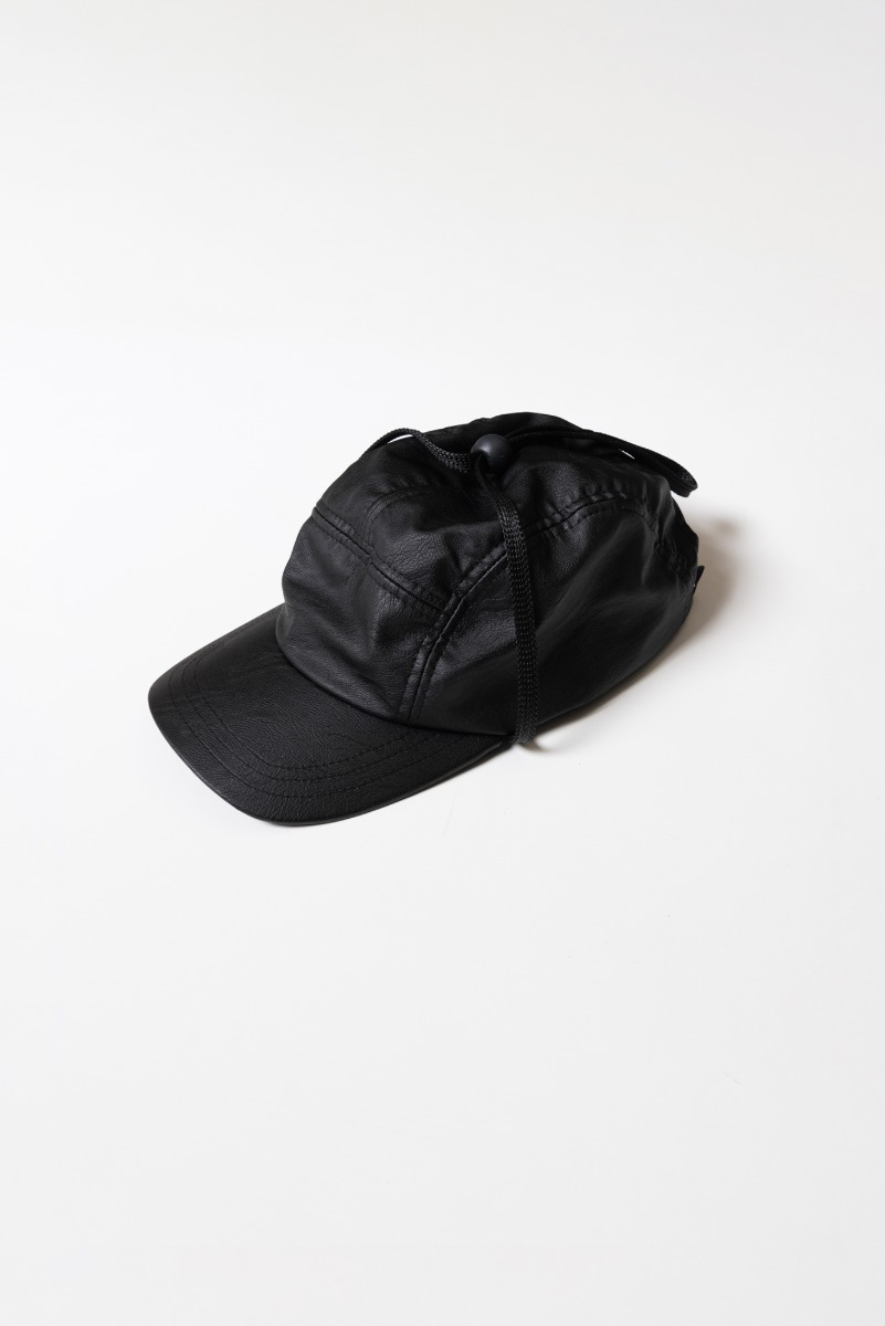 "DAVID CATALAN Faux Leather Cap ""Black"""