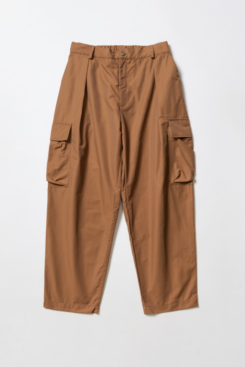 "DAVID CATALAN Nylon Classic Safari Pleated Trousers ""Toffee"""