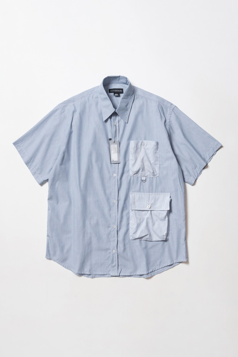 "DAVID CATALAN Oversized Safari Shirt ""Blue"""