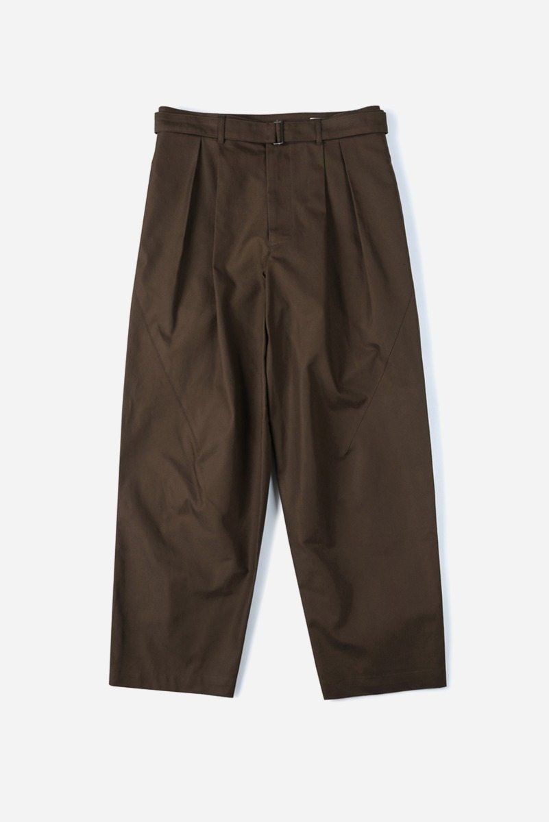 "SHIRTER Belted Pleats Jar Pants ""Dark Brown"""