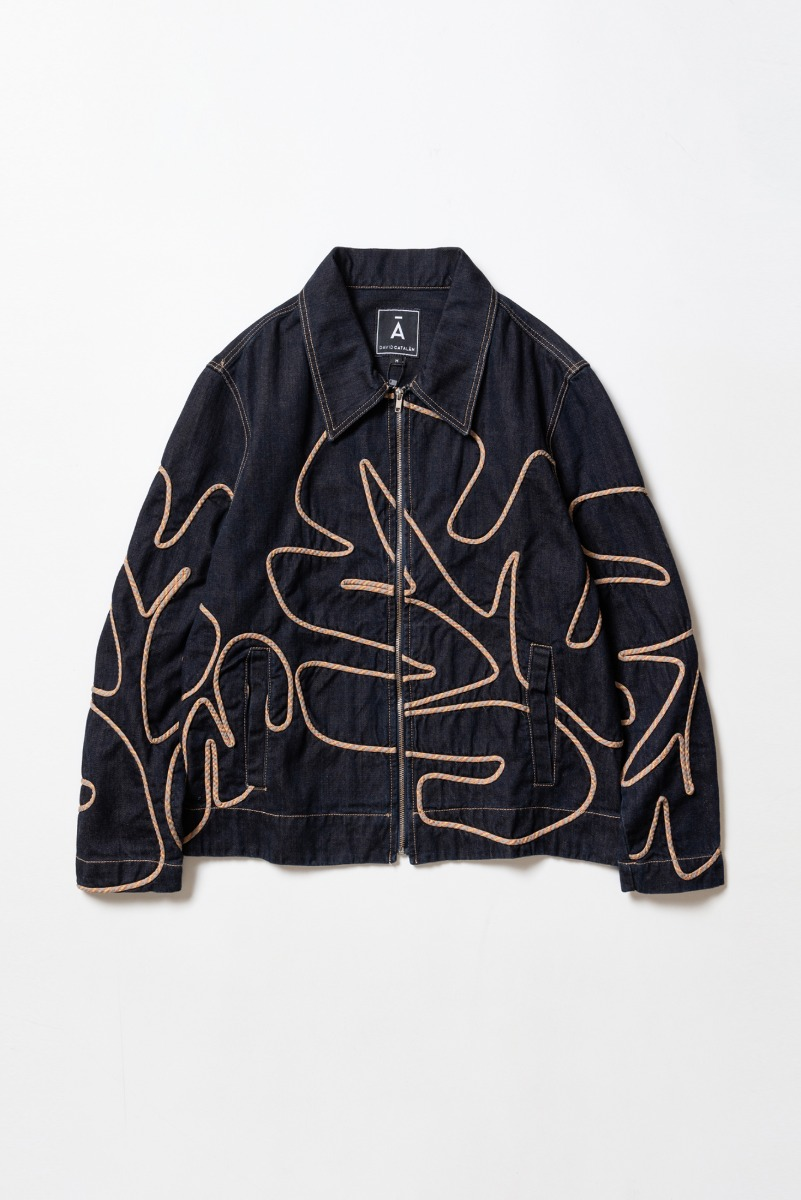 "DAVID CATALAN Embroidered Jacket ""Dark Blue"""
