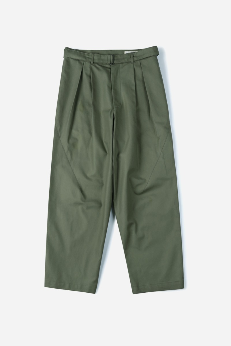 "SHIRTER Belted Pleats Jar Pants ""Khaki"""