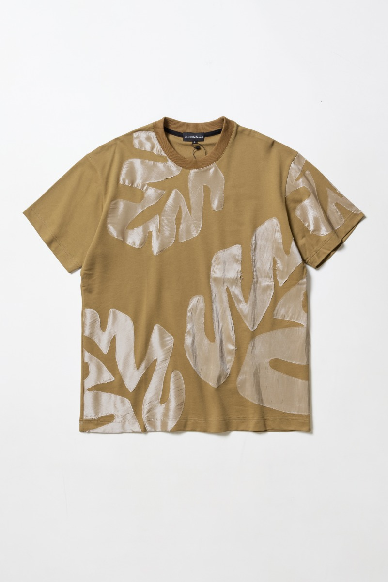 "DAVID CATALAN Floral Laser Cut T-Shirt ""Toffee"""