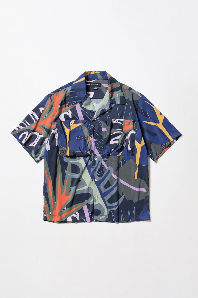 "DAVID CATALAN Print Hawai Shirt ""Print Marine"""