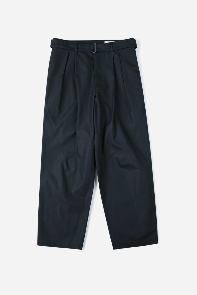 "SHIRTER Belted Pleats Jar Pants ""Navy"""