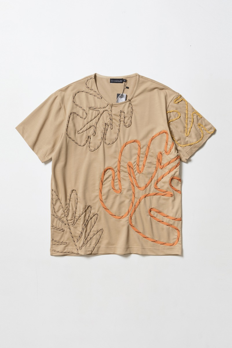 "DAVID CATALAN Embroidered T-Shirt ""Beige"""
